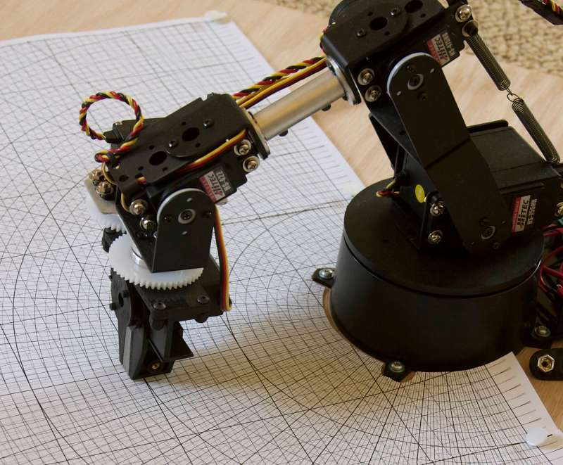 Robot arm with calibration grid
